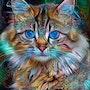 Marygold cat - Mix media - 70 X 65 cm. Léa Roche