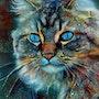 Tabata Velvet - Cat - Mix media on panel - 70x55 cm. Léa Roche