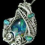 Ethiopian Opal Mosaic Wire-Wrapped Pendant with Ethiopian Welo Opals. Heather Jordan Jewelry