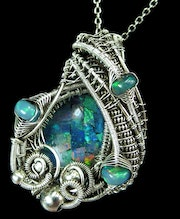 Ethiopian Opal Mosaic Wire-Wrapped Pendant with Ethiopian Welo Opals.