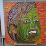 Acrylic painting colorful head naive painting. Acrylwolle