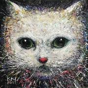 Peinture sur toile «Les yeux de chat » acrylique.