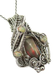 Wire-Wrapped Chocolate Ethiopian Welo Opal Pendant with Ethiopian Welo Opals.