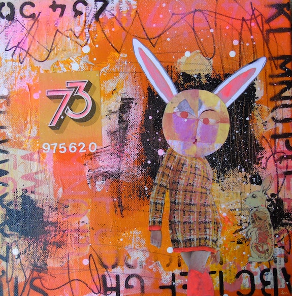 Plaid Story- orange mixed media Klee inspired rabbit collage. Lorette C. Luzajic Lorette C Luzajic