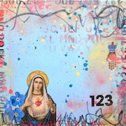 The Broken Heart of Mexico- original collage painting mixed media Virgin Mary.