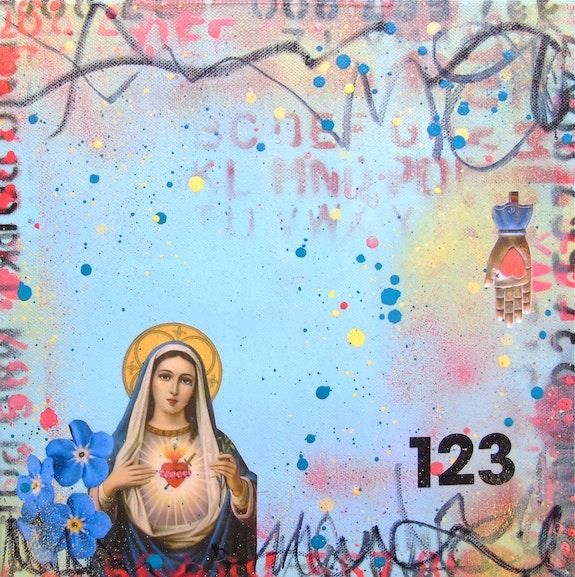 The Broken Heart of Mexico- original collage painting mixed media Virgin Mary. Lorette C. Luzajic Lorette C Luzajic