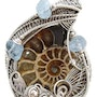 Fossilized Ammonite Wire-Wrapped Pendant with Aquamarine Nuggets. Heather Jordan Jewelry