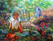 L'enfant au jardin. Sylvie Gascon