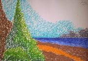 Arbustes et arbres face à la mer.