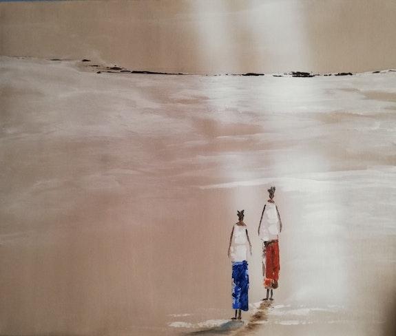 Femmes sur une plage africaine. Mc Lamorre Marie-Christine Lamorre