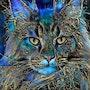 Karson, cat - Mix media on panel - 70x52 cm. Léa Roche