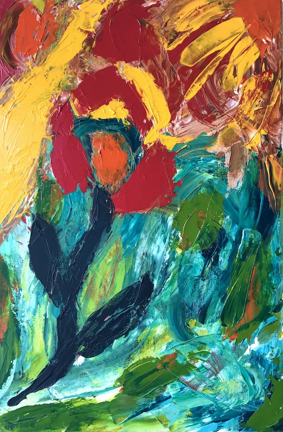 Contemporary art, abstract painting, modern, red, yellow, sun, flower. Lilach Roth Lilach Roth