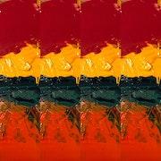 Digital art, abstract art, modern art, contemporary, red, print, orange. Lilach Roth