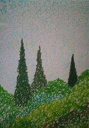 Arbustes et cyprès, harmonie verte.