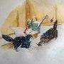 Aquarelle animale «Les chatons dans la neige». Oxana Mustafina