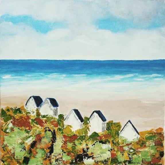 Cabines de plage (côte d'Opale). Mc Lamorre Marie-Christine Lamorre
