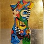 Colorful lady painted in acrylic paint on aluminum sheet with gold leaf. Wolfgang Bröder