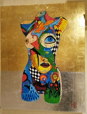 Colorful lady painted in acrylic paint on aluminum sheet with gold leaf.