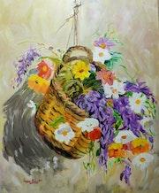 Cistella amb flors.