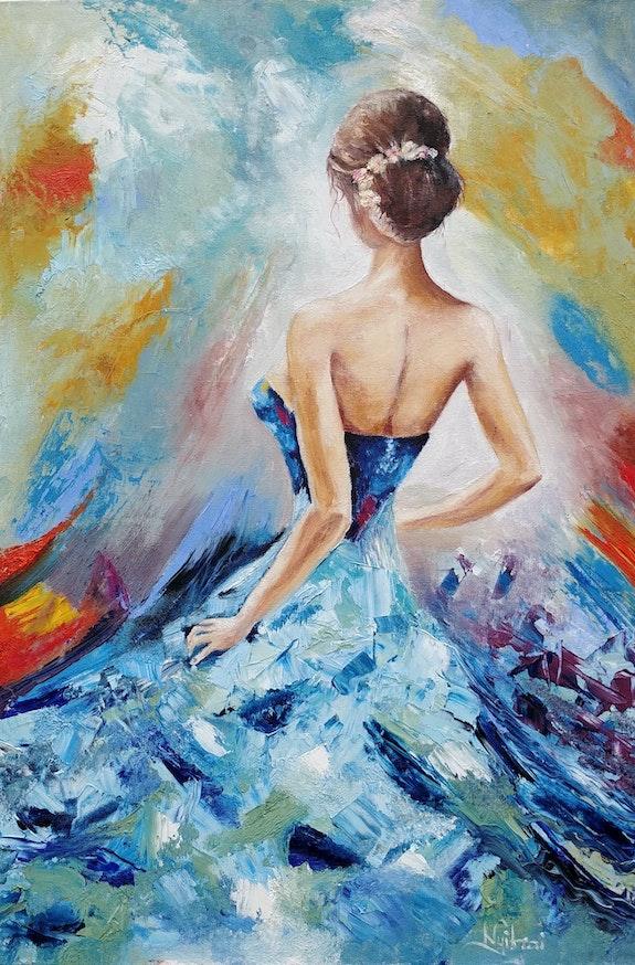 Color Dance - oil, canvas, abstract, home decor, wall decor,. Nyitraiart Nyitrai Art
