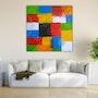 Geometrie farbenfreudiges Bild in Acryl Farbe gemalt. Acrylwolle