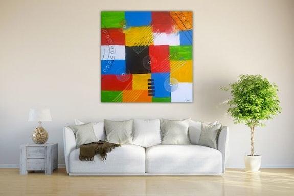 Geometrie farbenfreudiges Bild in Acryl Farbe gemalt. Wolfgang Bröder Wolfgang Bröder