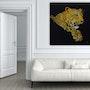 Leopard in Acryl Farbe auf Leinwand. Acrylwolle