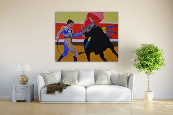 Stierkampf in Acryl Farbe gemalt auf leinwand. Wolfgang Bröder Acrylwolle