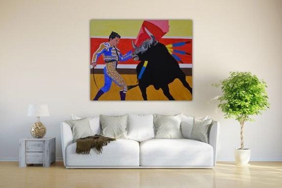Stierkampf in Acryl Farbe gemalt auf leinwand. Wolfgang Bröder
