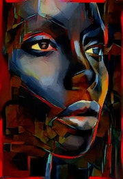 Malu - Mix-media on panel - 80 X 55 cm- Gouache/inks- woman portrait.