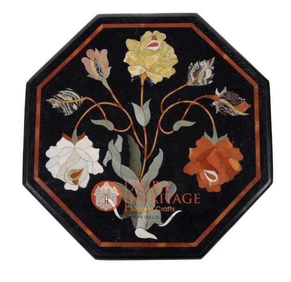 Decoración de diseño de marquetería artesanal de mesa de incrustaciones de café.  Agra Heritage Marble Crafts