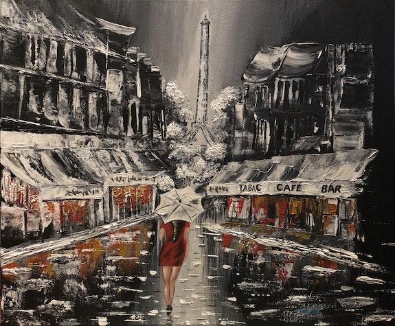 Une femme sous la pluie dans la rue de Paris. Kasia, Kate_Art Kate_Art
