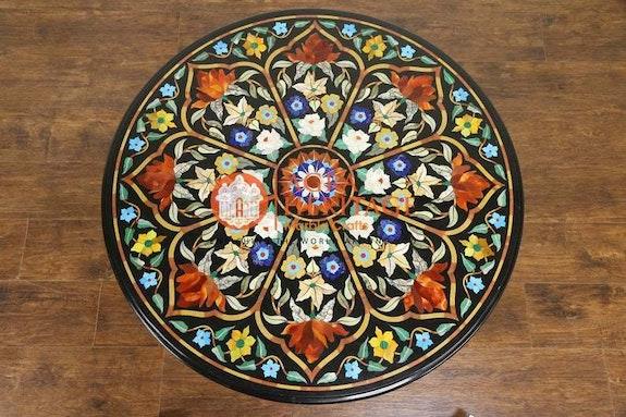 Mesa de centro redonda de mármol negro Lapislázuli Carnelian Turquesa Incrustaci.  Agra Heritage Marble Crafts