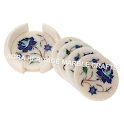 White Marble Coffee Tea Coaster Custom Set Lapis Lazuli Inlay Floral Marquetry. Agra Heritage Marble Crafts