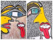 Artista judia obras psicodelicas modernas en acrilico y tinta sobre papel. Mirit Ben-Nun