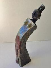 Vase en céramique enfumée cuisson raku. Danicarts