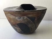 Vase en céramique enfumée céramique raku. Danicarts