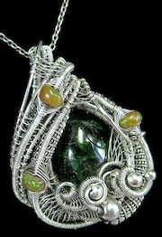 Chrome Diopside Wire-Wrapped Pendant with Ethiopian Opals. Heather Jordan Jewelry
