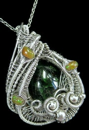 Chrome Diopside Wire-Wrapped Pendant with Ethiopian Opals.