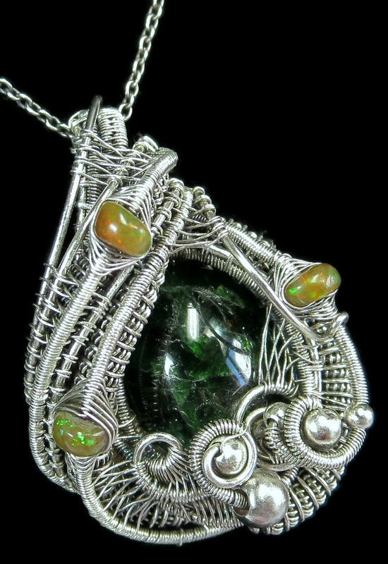 Chrome Diopside Wire-Wrapped Pendant with Ethiopian Opals. Heather Jordan Heather Jordan Jewelry