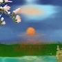 Sonnenaufgang mit Magnolienzweig. Juste
