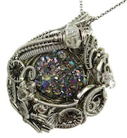 Titanium Druzy Steampunk Pendant with Herkimer Diamonds in Sterling Silver.