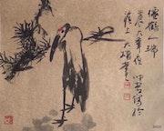 Sh 20 - Bird - Original Asian Art Ink Painting On The Rice Paper.