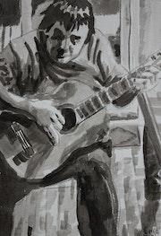 Autoportrait à la guitare.