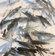 Au 2 - Lotus Pond I - Original Abstract Ink Painting On The Rice Paper.