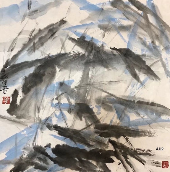 Au 2 - Lotus Pond I - Original Abstract Chinese Ink Painting On The Rice Paper. Zhongwu 仲吾
