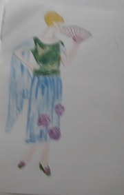 Élégante en robe verte et bleue. Mijo