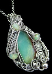 Chrysoprase Wire-Wrapped Pendant with Ethiopian Welo Opals.