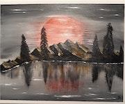 Paysage avec lune.