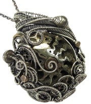 Pyritized Ammonite Steampunk Pendant with Recycled Watch Parts.